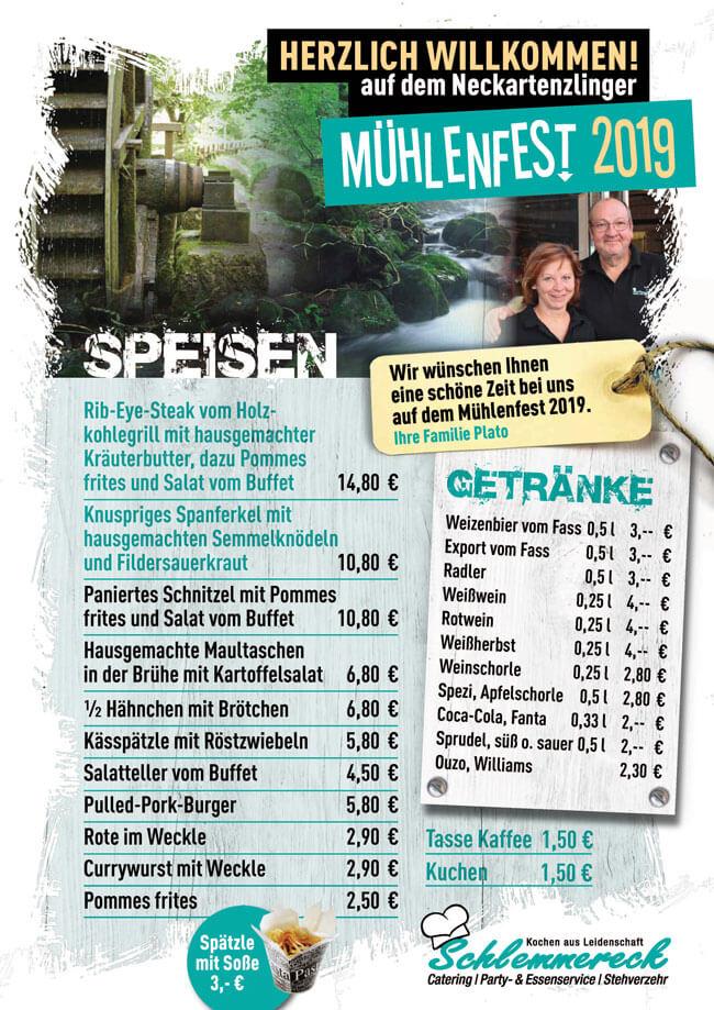 Downloadbutton Speisekarte Mühlenfest